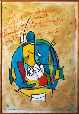 Absinth · 2000 - Técnica mixta sobre papel, 77 x 118 cm