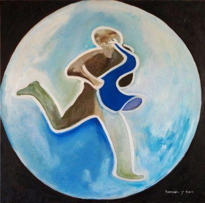 Saxo · 2012 - Óleo sobre lienzo, 100 x 99 cm