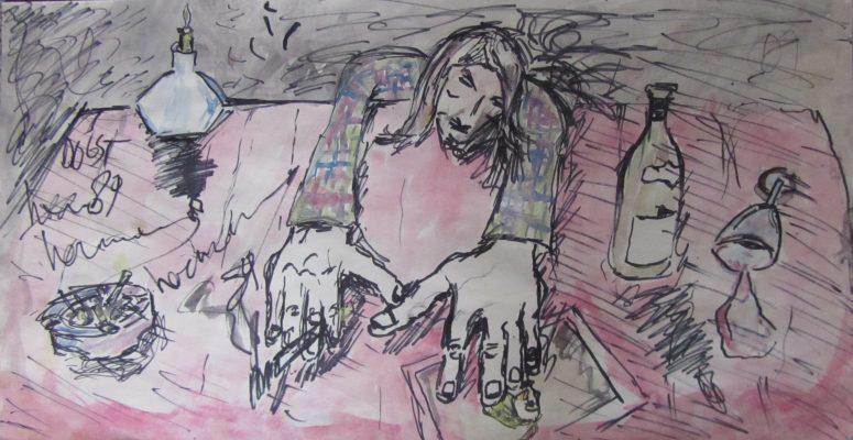 Oogst · 1989 - Tinta y acrílico sobre papel, 22 x 60 cm